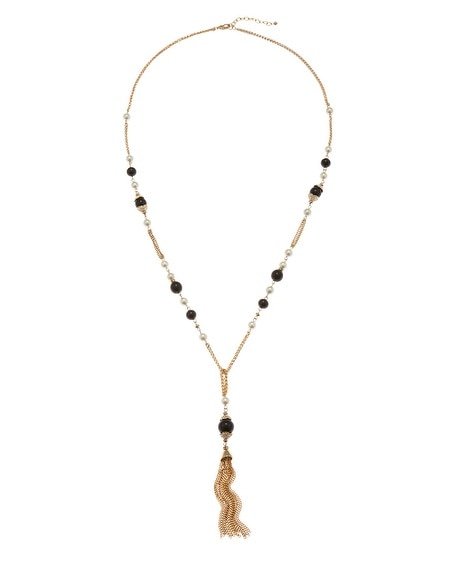 Jet & Pearl Tassel Necklace