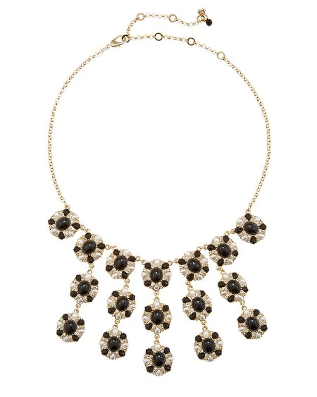 Jet & Pearl Bib Necklace