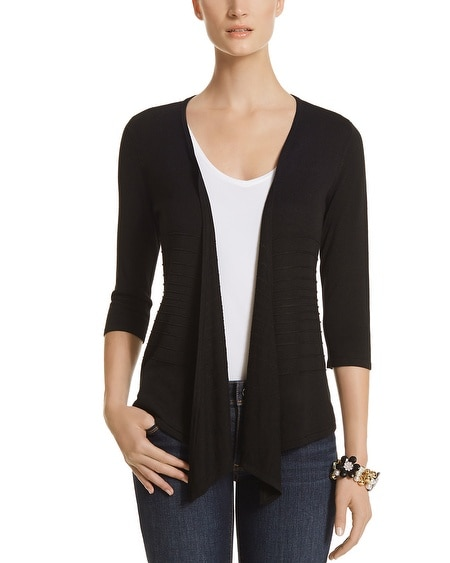 3/4 Sleeve Tie Front Black Cover Up
