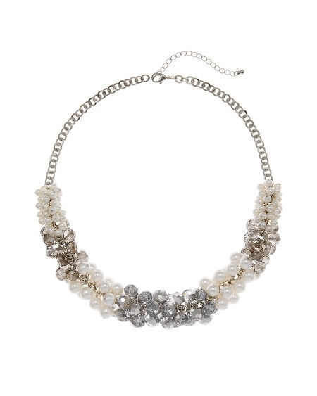 Gray & Glass Pearl Bauble Necklace