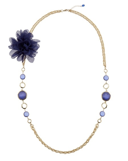 Blue Stone Necklace With Removable Flower