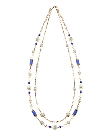 Long Blue & Pearl Convertible Necklace