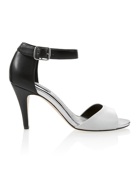 Leather Black & White Mid-Heel