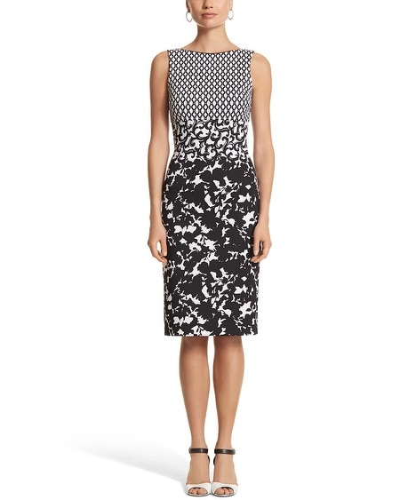 Sleeveless Mixed Print Sheath