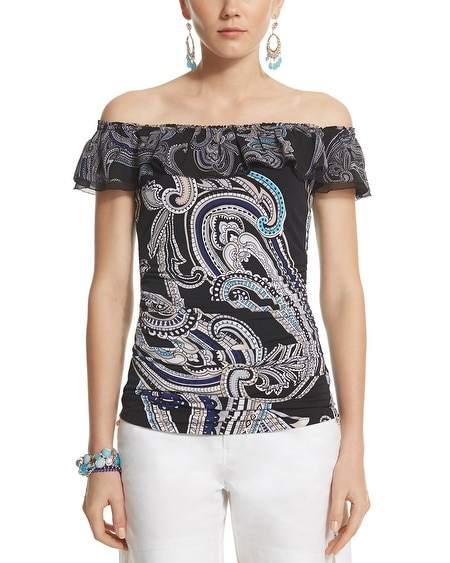 Paisley Ruffle Over-the-Shoulder Top