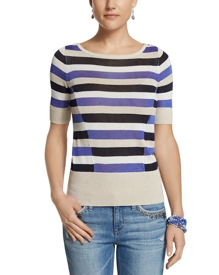 Striped Elbow Sleeve Sweater