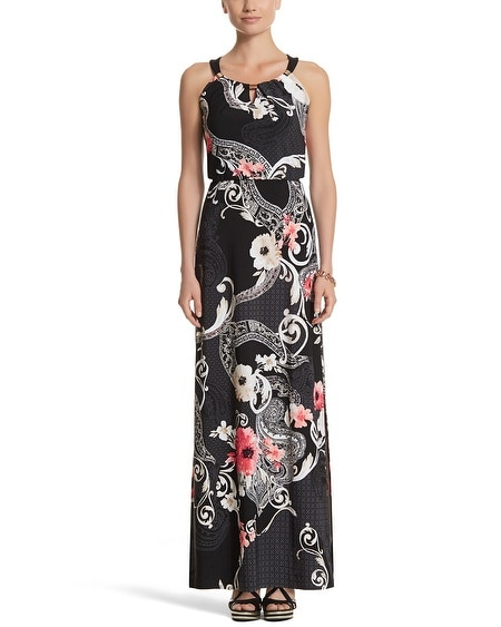 Sleeveless Blouson Mixed Print Maxi Dress
