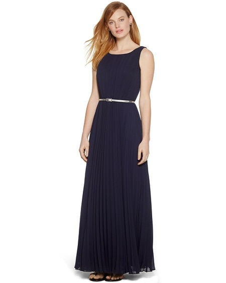 Sleeveless Pleated Navy Maxi Dress
