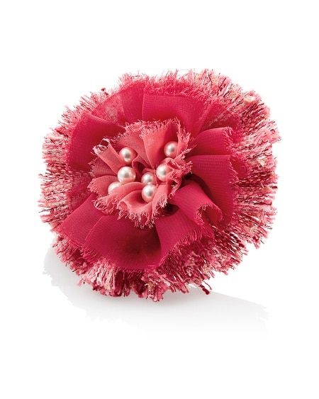 Coral & Tweed Flower Pin