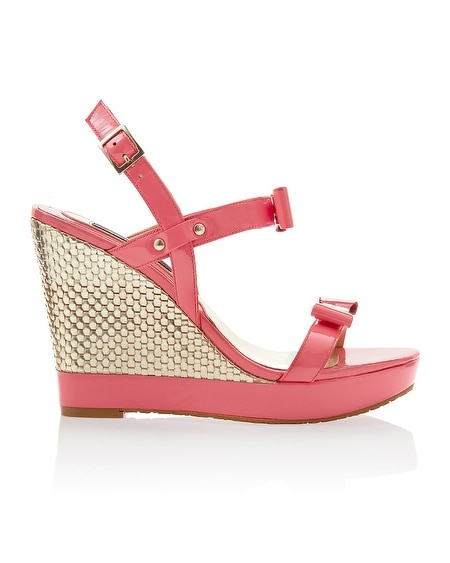 Patent Coral Woven Bow Wedge