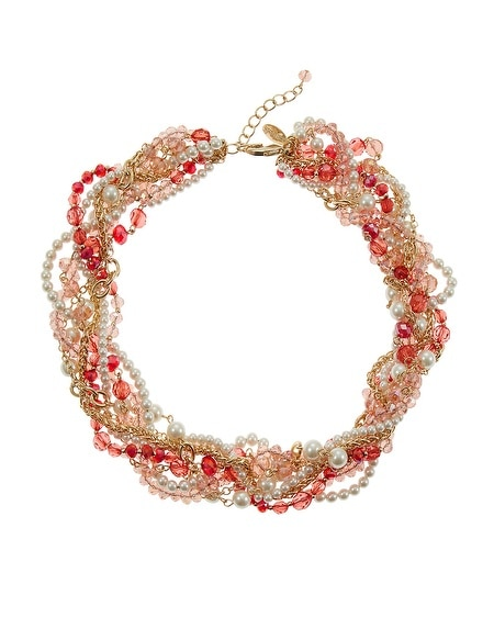 Coral & Pearl Torsade Necklace