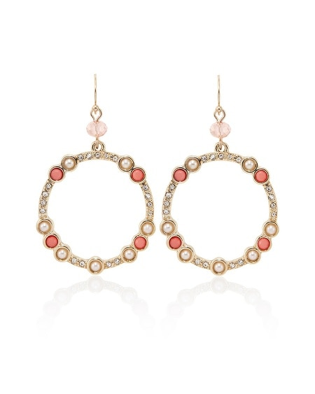 Coral Pearl Casted Drop Hoop Earring