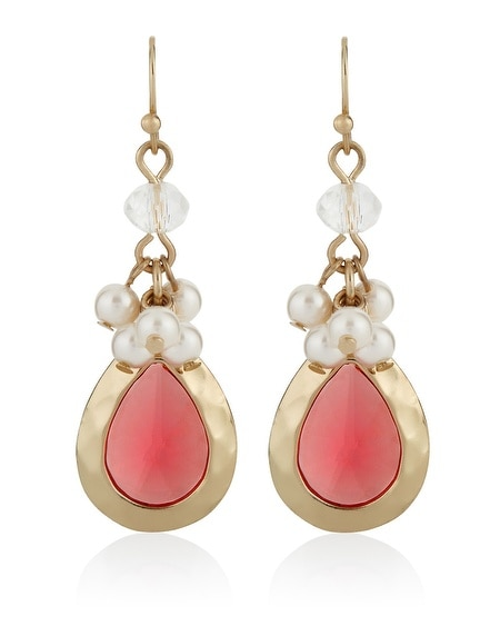 Coral Pearl Drop Earring