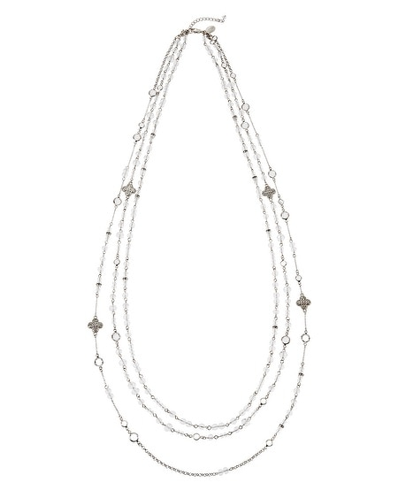 Long Crystal Triple Strand Necklace