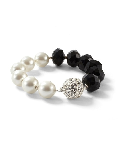 Glass Pearl Jet Fireball Bracelet