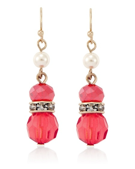 Coral Pearl Linear Earring