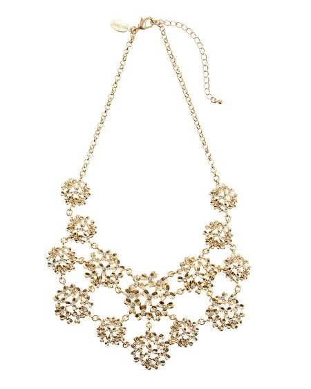 Gold Crystal Metal Flower Bib Necklace