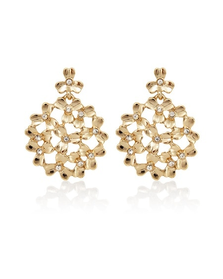 Gold Crystal Metal Flower Drop Earring