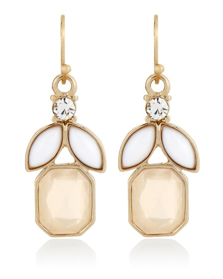 Neutral White Square Faceted Drop Earring