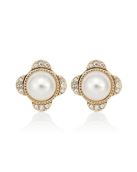 Gold Pearl Crystal Jacket Stud Earring