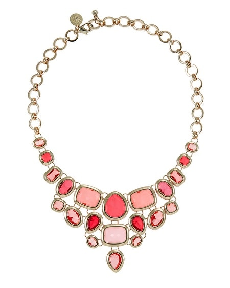 Coral Geometric Statement Necklace