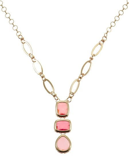 Coral Gem Geometric Pendant Necklace