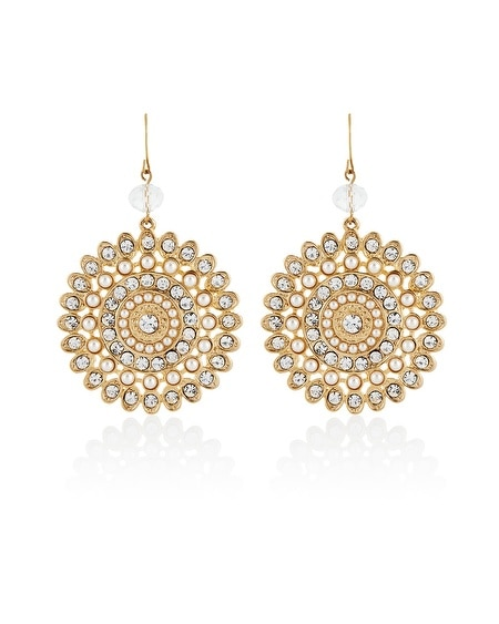 Gold Pearl Filigree Drop Earring