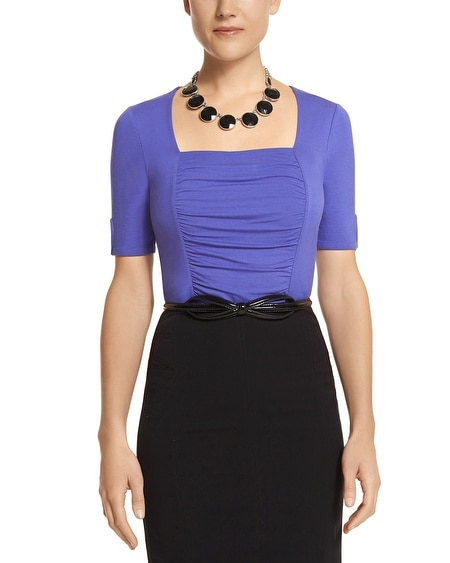 Blue Ruched Square Neck Top