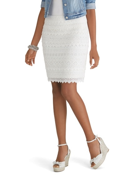 Tiered Lace Pencil Skirt