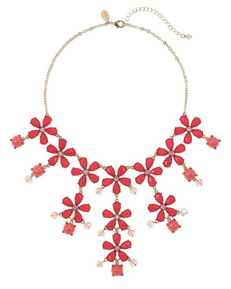 Coral Faceted Flower Bib Necklace
