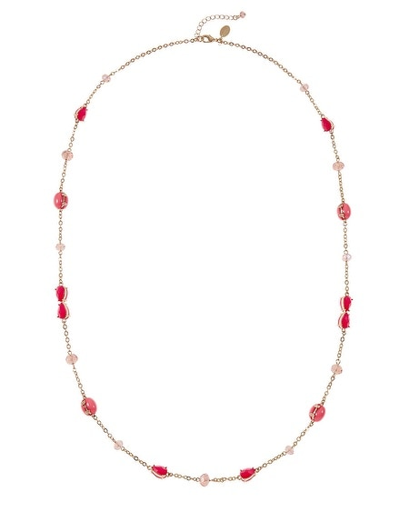 Coral Faceted Long Necklace