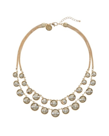 Gold Circle Faceted Double Row Necklace