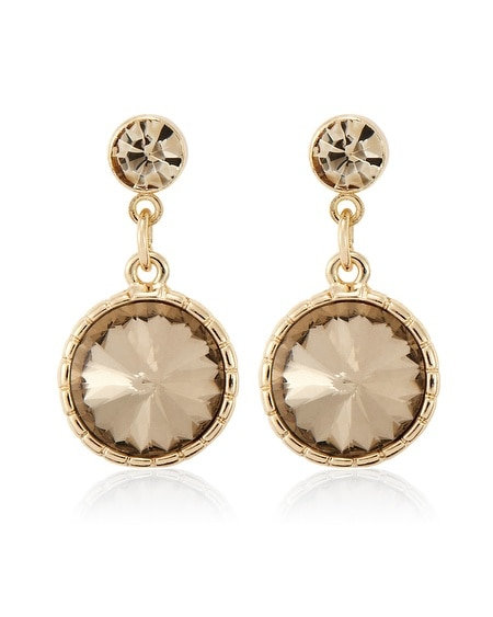 Gold Circle Faceted Drop Earring