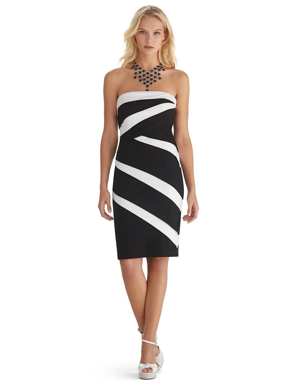 Color Block Strapless Instantly Slimming Dress White House Black