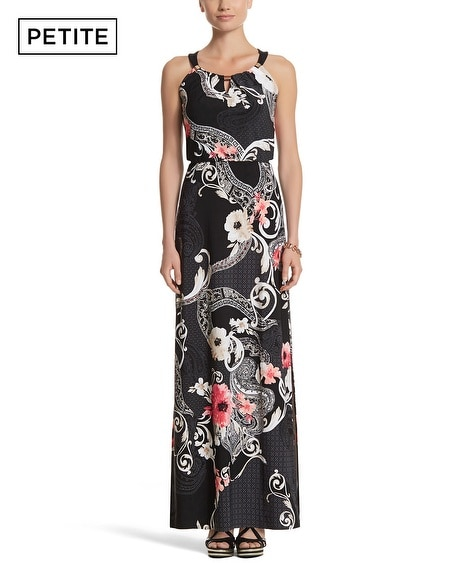 Petite Sleeveless Blouson Mixed Print Maxi Dress