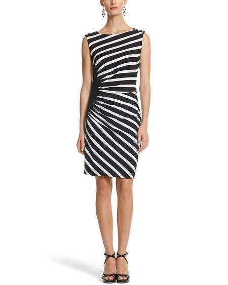 Sleeveless Stripe Ruched Sheath Dress