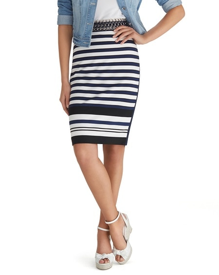 Long Stripe Knit Pencil Skirt