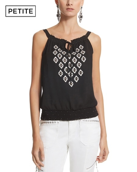 Petite Contrast Embroidered Shell Top