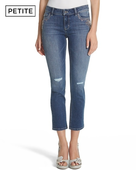 Petite Saint Honore Embellished Slim Crop Jean