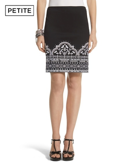 Petite Embroidered Pencil Skirt