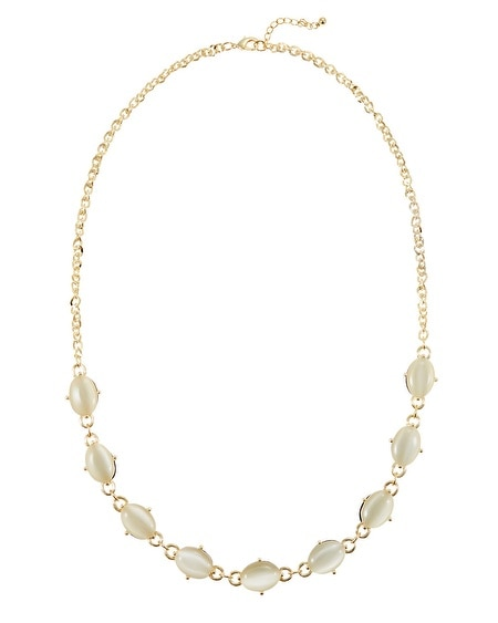 Gold White Jet Reversible Long Necklace