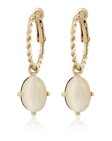 Gold White Jet Reversible Drop Earring