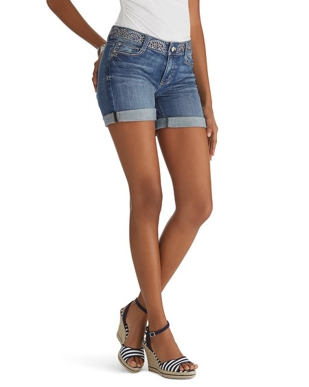 Embellished Waistband Jean Short