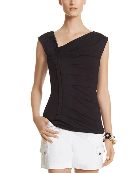 Asymmetrical Grosgrain Top