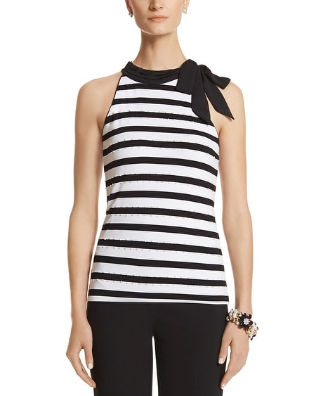 Stripe Pearl Detail Tie Neck Top