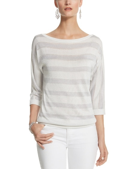 3/4 Sleeve Stripe Pullover
