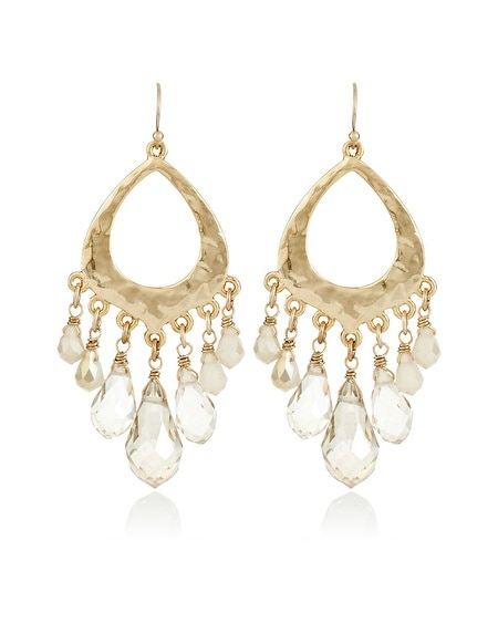 Neutral Faceted Hammered Chandelier Earring