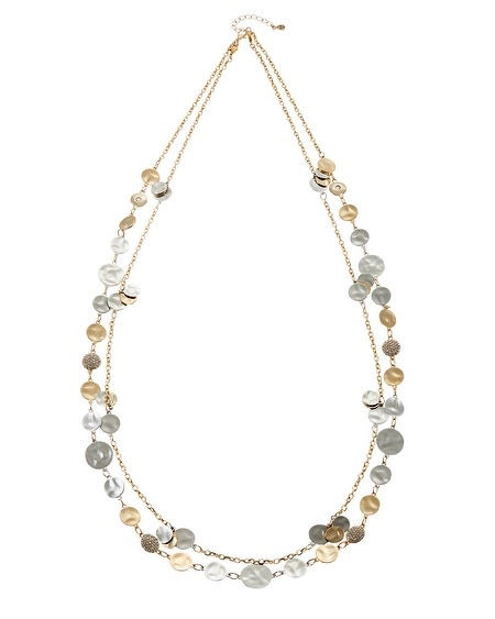 Pave Coin Double Long Necklace