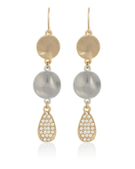 Pave Coin Linear Earring