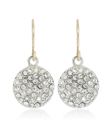 Gold Pave Coin Drop Earring